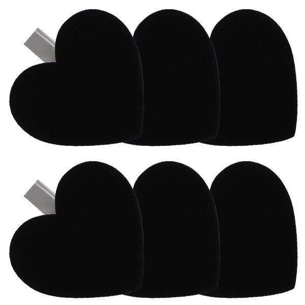 Blackboard Heart White Clips - Pack of 6