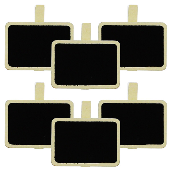 Blackboard Rectangle Ivory Clips - Pack of 6