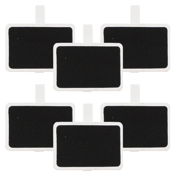Blackboard Rectangle White Clips - Pack of 6
