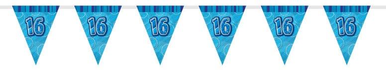 Blue Glitz 16th Birthday Bunting 274cm