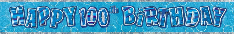 Blue Glitz 100th Birthday Prismatic Banner - 12 Ft / 366cm Product Image