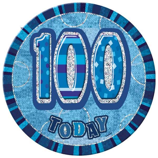 Blue Glitz 100th Birthday Badge - 6 Inches / 15cm