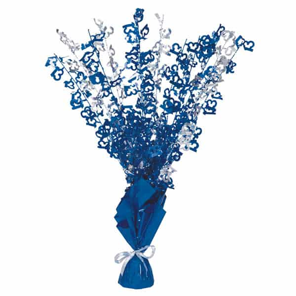 Blue Glitz 13th Birthday Balloon Weight Centrepiece