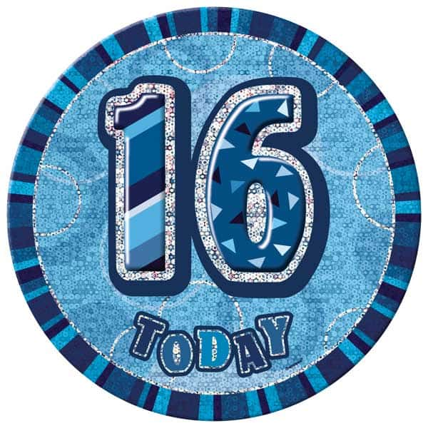 Blue Glitz 16th Birthday Badge - 6 Inches / 15cm Product Image