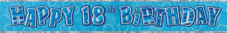 Blue Glitz 18th Birthday Prismatic Banner 274cm