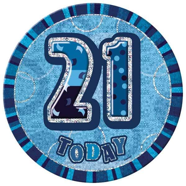 Blue Glitz 21st Birthday Badge - 6 Inches / 15cm
