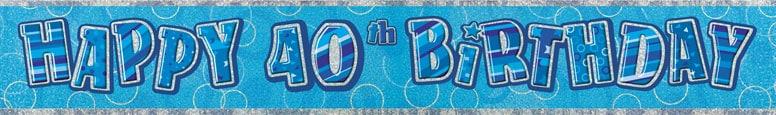Blue Glitz 40th Birthday Prismatic Banner 274cm
