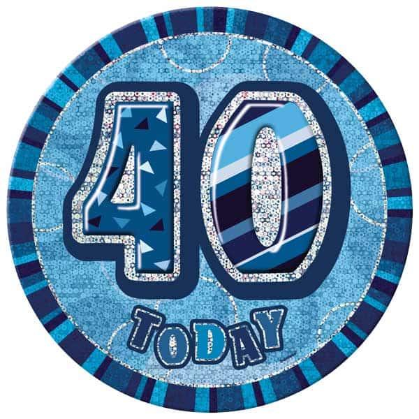 Blue Glitz 40th Birthday Badge - 6 Inches / 15cm