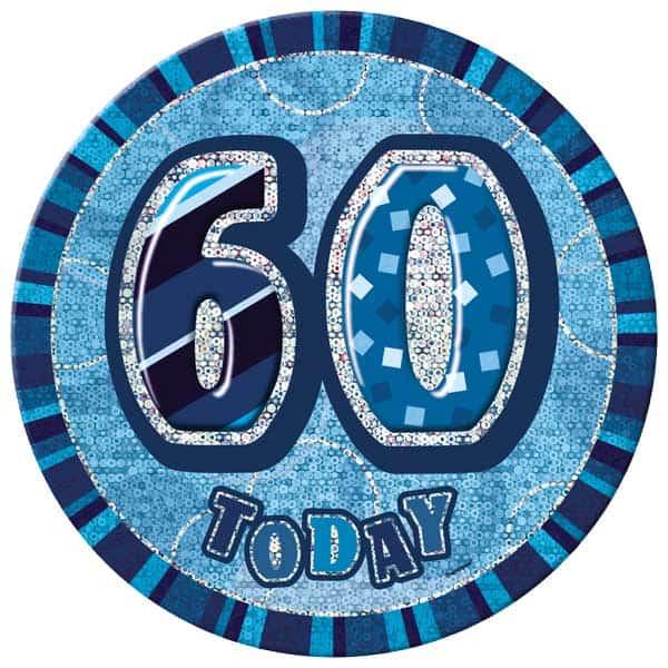 Blue Glitz 60th Birthday Badge - 6 Inches / 15cm