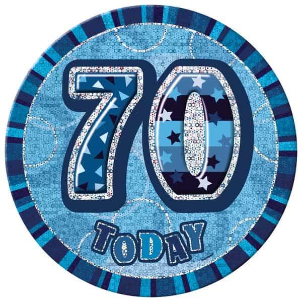 Blue Glitz 70th Birthday Badge – 6 Inches / 15cm