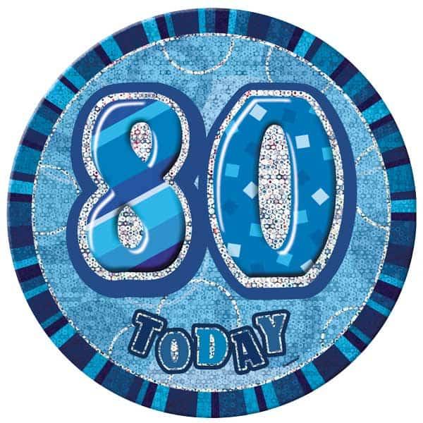 Blue Glitz 80th Birthday Badge - 6 Inches / 15cm