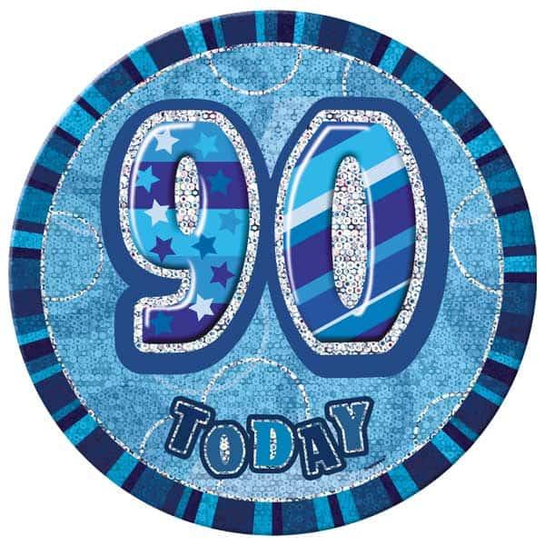 Blue Glitz 90th Birthday Badge - 6 Inches / 15cm