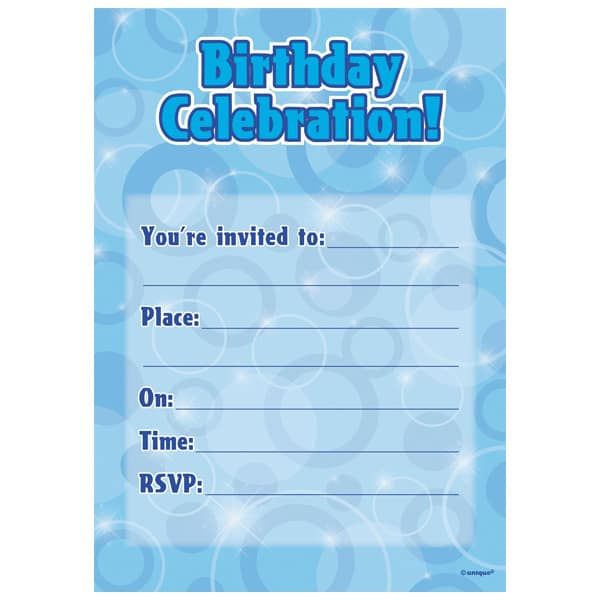 Blue Glitz Happy Birthday Invitations Pack Of 16