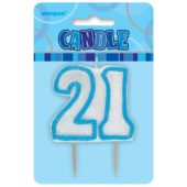 Blue Glitz Theme Number Candle 21