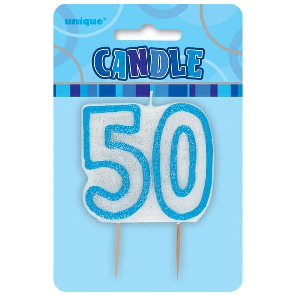 Blue Glitz Theme Number Candle - Number 50