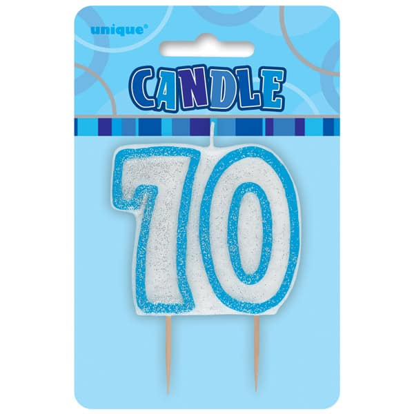 Blue Glitz Theme Number Candle - Number 70 Product Image