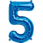 Blue Number 5 Supershape Foil Balloon 34 Inches 86cm