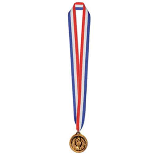 Bronze Medal on 30 Inch Ribbon - Pack of 12