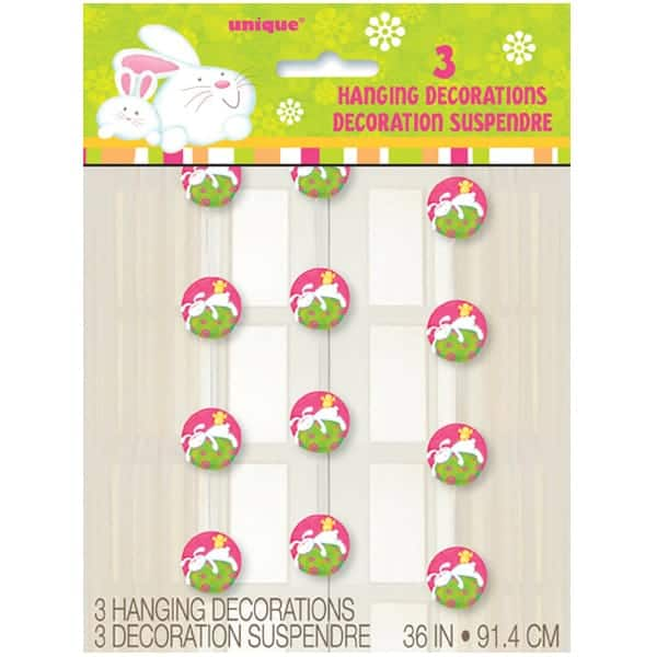 Bunny Pals Hanging Decorations - 36 Inches / 91.5cm - Pack of 3