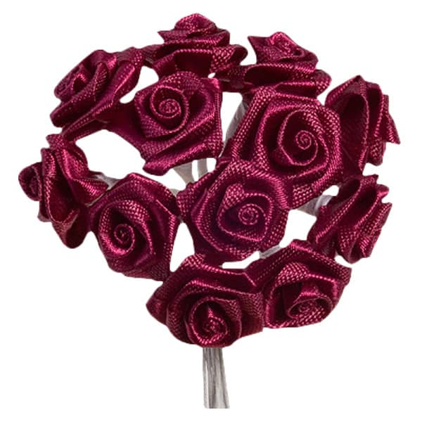Burgundy Fabric Ribbon Roses - Bunch of 12