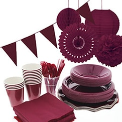Burgundy plain tableware