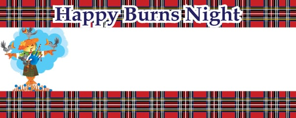 Burns night scottish scarecrow personalised banner for Burns supper order of service