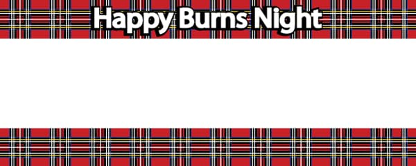 Burns Night Red Tartan Design Small Personalised Banner - 4ft x 2ft