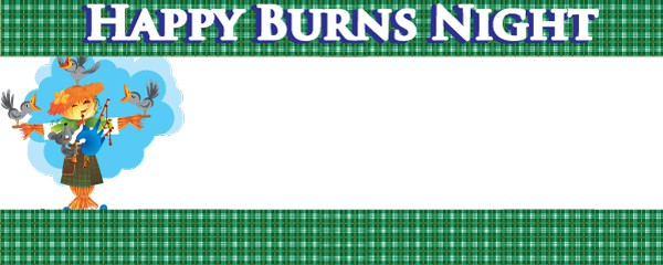 Burns Night Green Tartan Scarecrow Design Small Personalised Banner - 4ft x 2ft