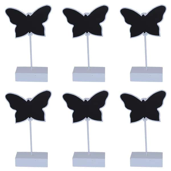 Butterfly Place Card Holder Chalk Board in White - Pack of 6