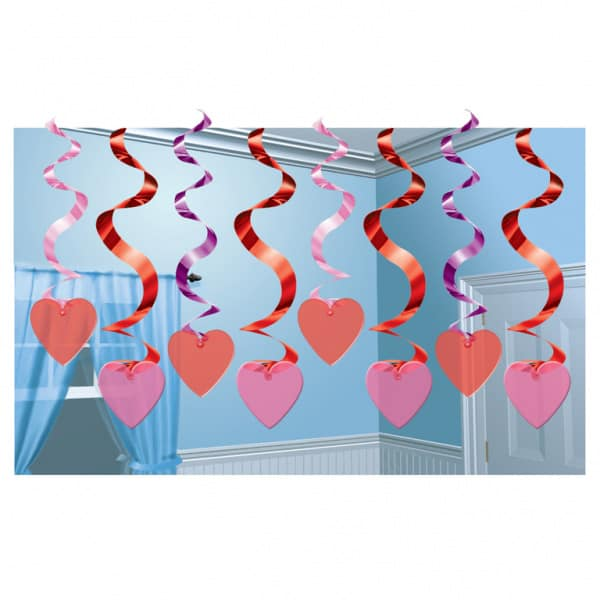 Candy Heart Hanging Swirl Decoration - 24 Inches / 61cm - Pack of 15