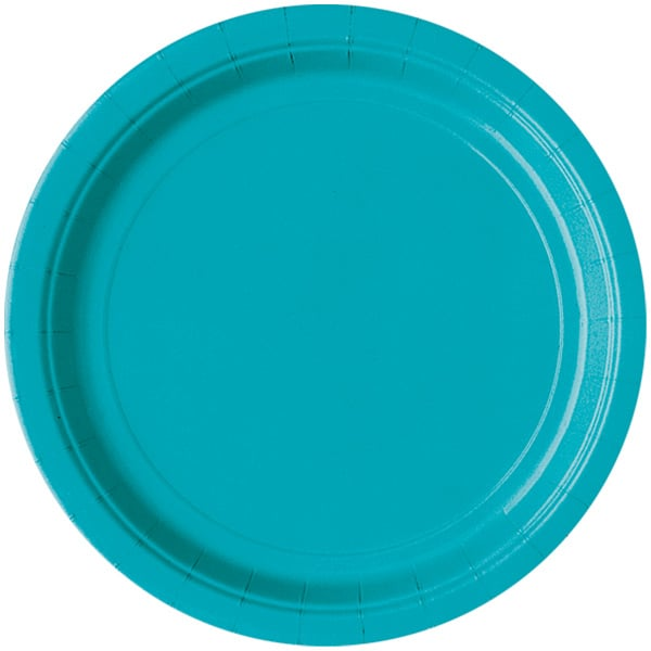 Caribbean Teal Round Paper Plates 22cm - Pack of 16