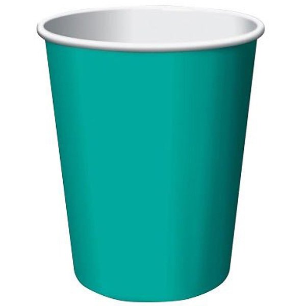 Caribbean Teal Paper Cups 270ml - Pack of 14