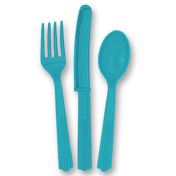 Caribbean Teal Turquoise Plastic Cutlery Set (6 Forks 6 Knives and 6 Spoons)