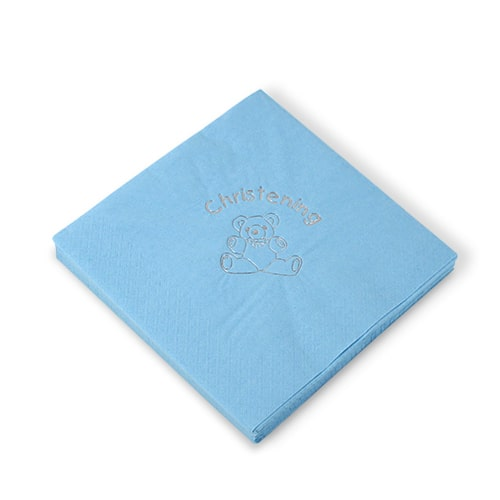 Christening Blue 3 Ply Napkins - 16 Inches / 40cm - Pack of 15