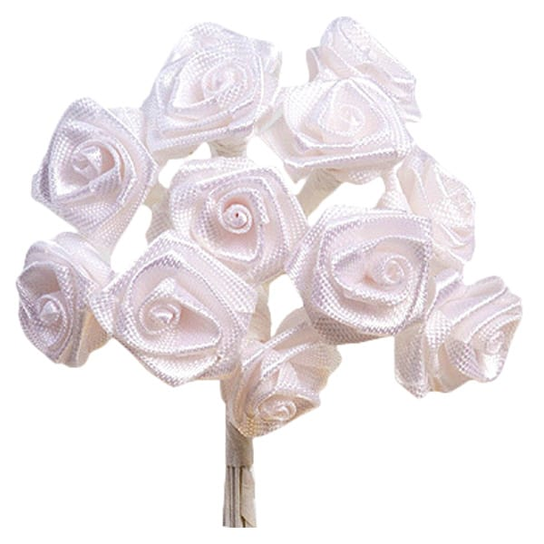 Cream Fabric Ribbon Roses - Bunch of 12