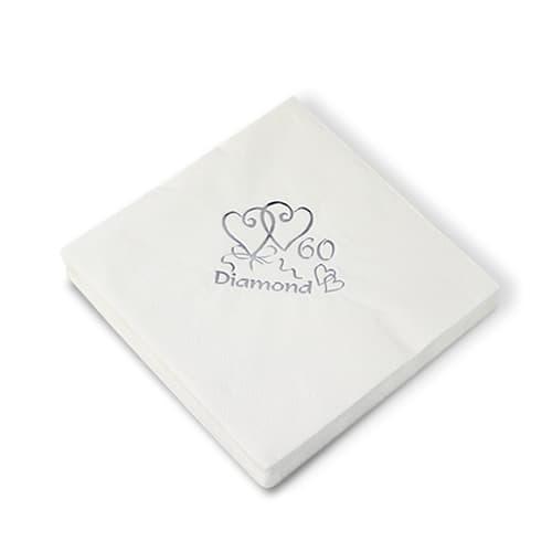 Diamond Wedding Anniversary 3 Ply Napkins – 16 Inches / 40cm – Pack of 20