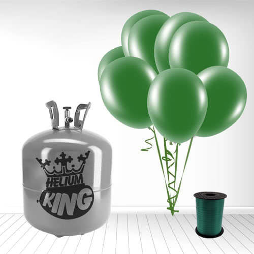 Disposable Helium Gas Cylinder with 50 Forest Green Balloons and Curling Ribbon Product Image