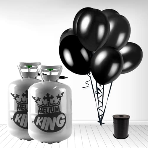 Disposable Helium Gas Cylinder with 60 Black Balloons and Curling Ribbon
