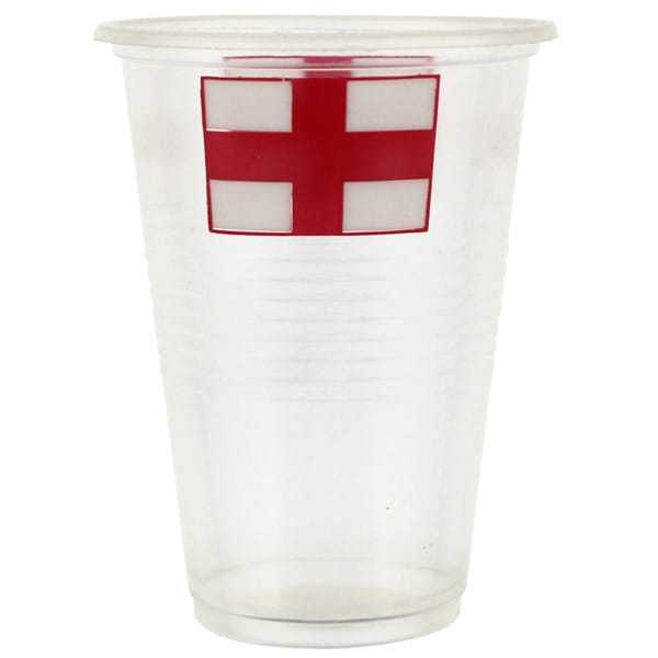 England Flag Plastic Pint Glass - 17.5oz / 500ml - Pack of 10