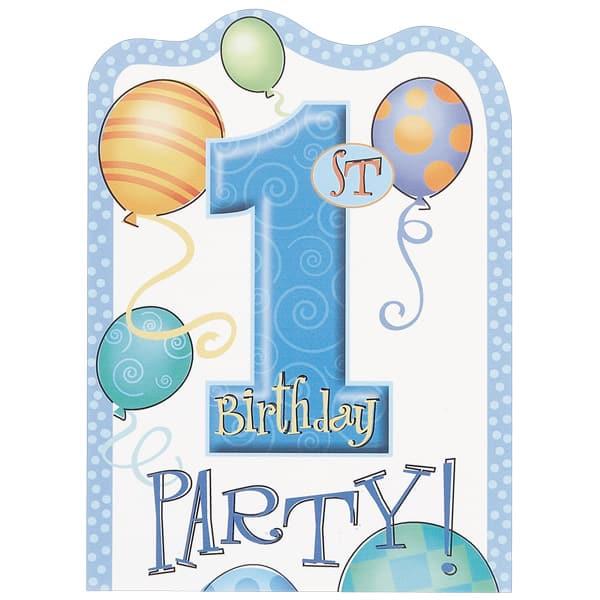 Loot Bags 1st Birthday Boys Balloons 8 Pk: First Birthday Boy Invitations Envelopes Pack 8