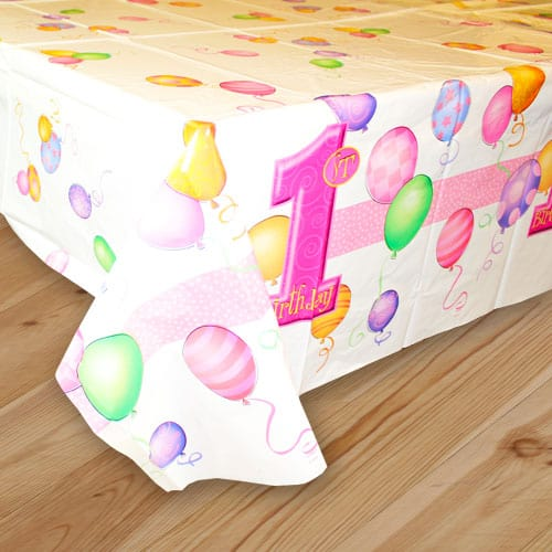 First Birthday Girl Plastic Tablecover - 137cm x 213cm