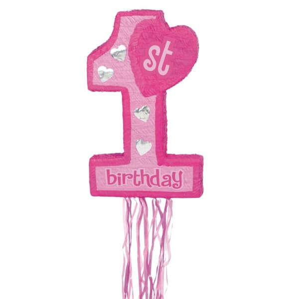 First Birthday Pink Pull String Pinata