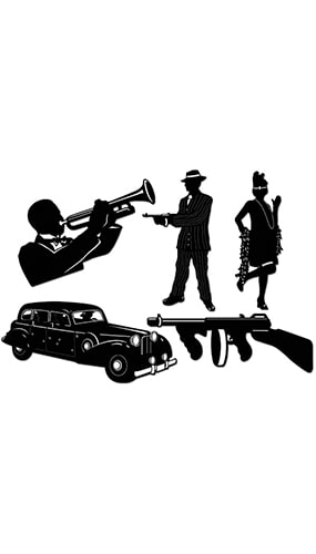 Gangster Silhouettes Decorative Cutouts - 24 Inches / 61cm - Pack of 5
