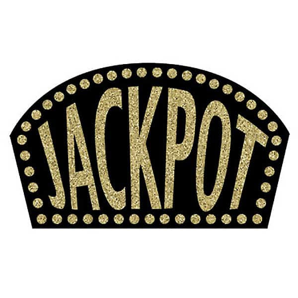 Black Glitter Jackpot Sign - 18 Inches / 46cm