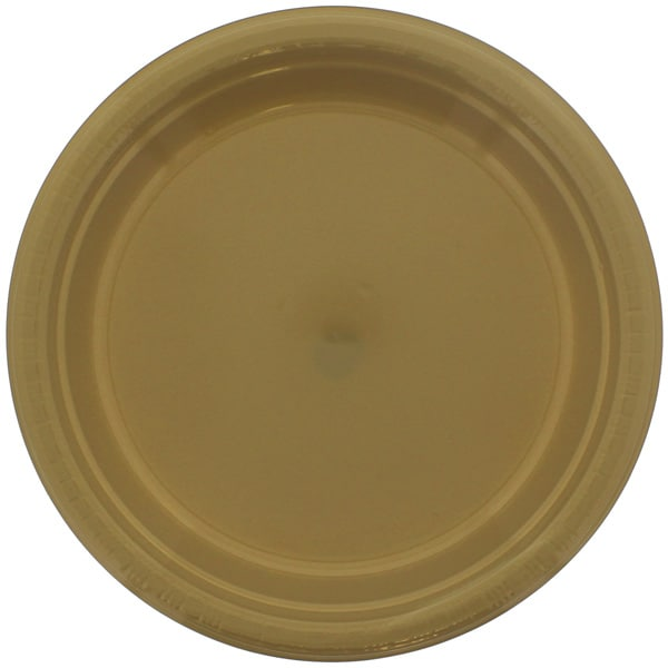 Gold Round Plastic Plates 23cm - Pack of 20