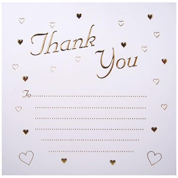 Gold Embossed Hearts Thank You Cards with Envelopes - Pack of 10