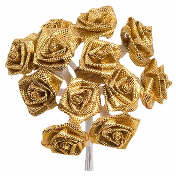 Gold Fabric Ribbon Roses - Bunch of 12