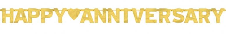 Gold Happy Anniversary Jointed Letter Banner - 7.8 Ft / 2.3m