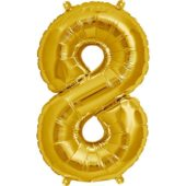 Gold Number '8' Supershape Foil Balloon – 34 Inches / 86cm