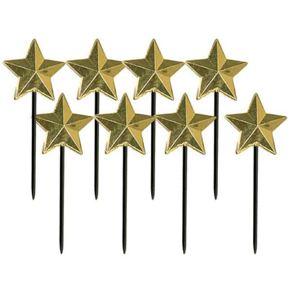 Gold Star Party Food Picks - Pack of 8